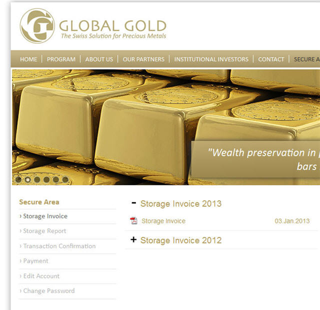 global gold storage fee invoice and storage report
