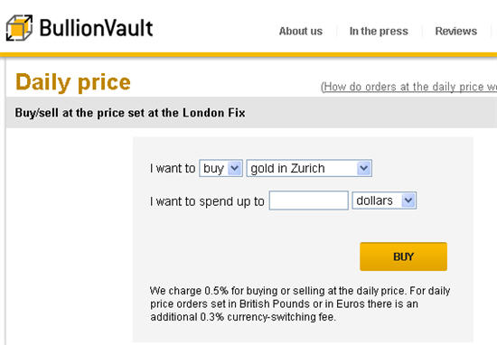 bullionvault london fix price buying of gold and silver