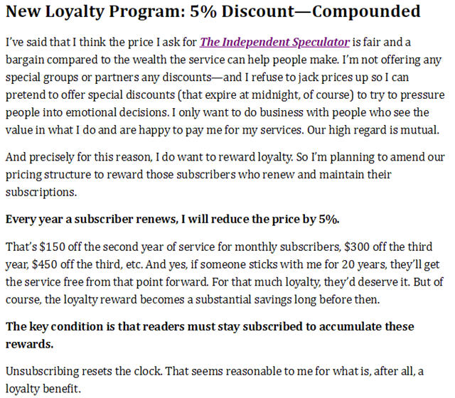 the independent speculator loyalty discount program